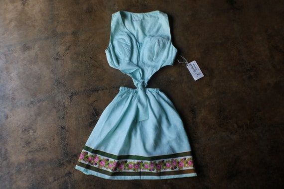 1960's Mini Dress , Baby Blue Polka Dots with Open
