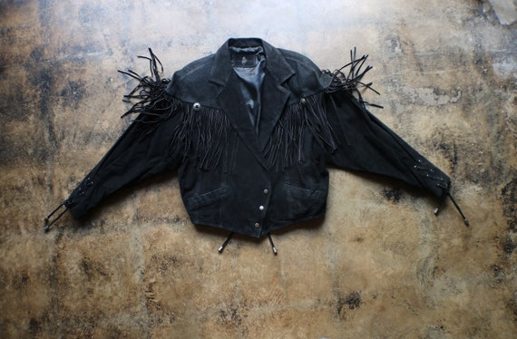 Black Leather Southwest Jacket / Vintage Fringed … - image 1