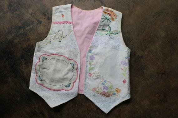Antique Patchwork Vest , Vintage Women's Embroider