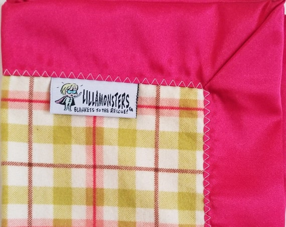 "Plaid Green Pink Security Blanket Flannel & Satin back 18"" x 18"" Small"