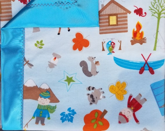 "Camping Flannel & Satin-backed  Baby Blanket 33""x 33"" Tents Camper"