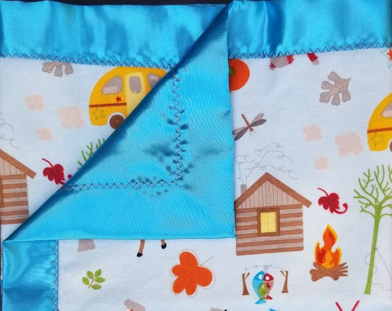 "Camping Flannel & Satin-backed  Baby Blanket 18""x 18"" Tents Camper"