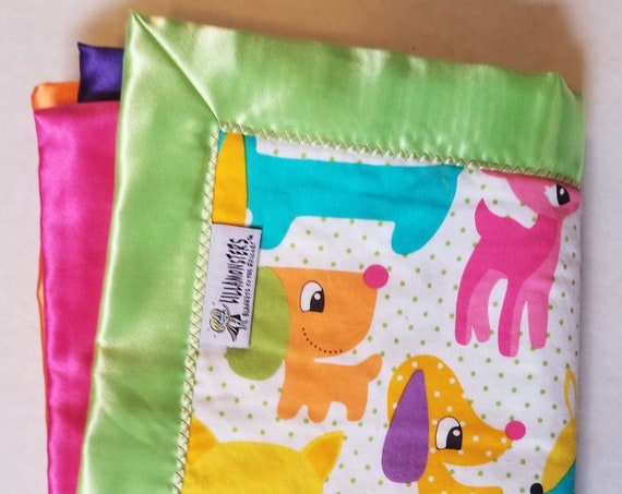 Retro Pets Soothing Baby Blanket with patchwork Satin back 33 x 33