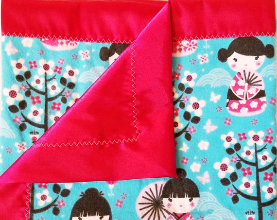 "Cherry Blossom Flannel & Satin backed Baby Blanket 33""x 33"""