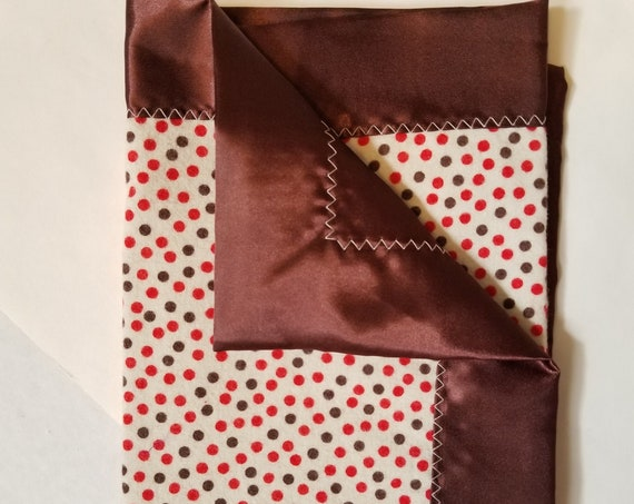 "Brown Dot Security Blanket Flannel & Satin back 18"" x 18""  Small Blankie"