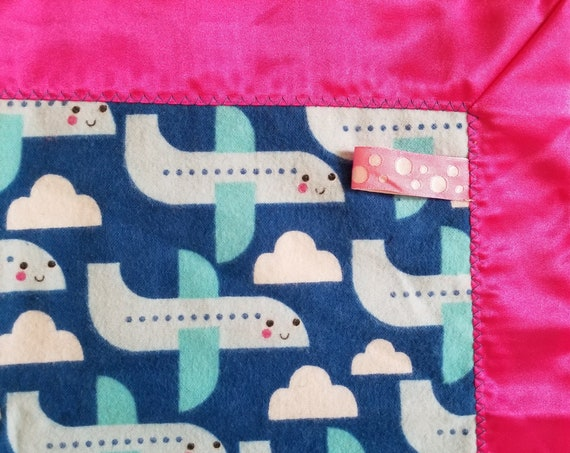 "Smiling Airplanes Security Blanket Flannel & Satin back 18"" x 18"" Small"
