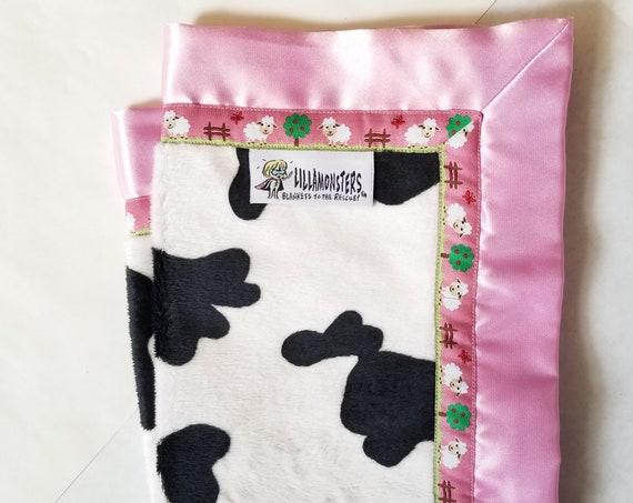 Cow Sheep Cuddly Baby Blankie Satin Back & Minkee 18 x 18