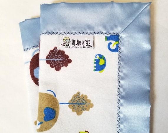 "Mod Elephant Security Blanket Flannel & Satin back 18"" x 18""  Small Blankie"