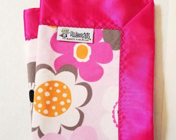 "Mod Flowers Security Blanket Flannel & Satin back 18"" x 18""  Small Blankie"