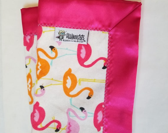 "Flamingo Security Blanket Flannel & Satin back 18"" x 18""  Small Blankie"