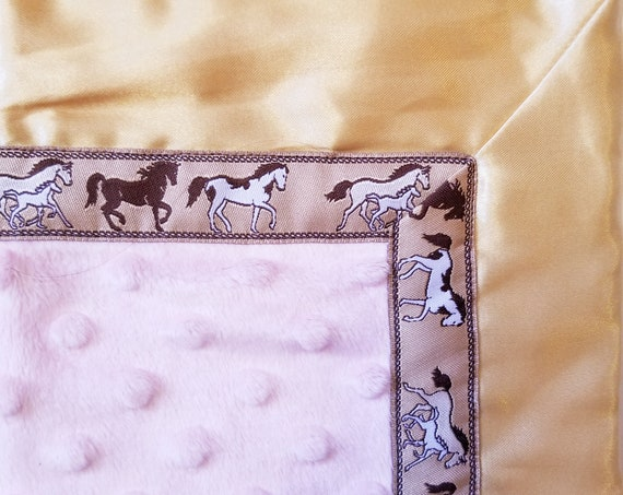 Horse and Foal Cuddly Baby Blankie Satin Back & Minkee 18 x 18