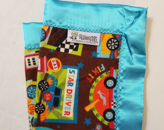 "Racecar Pit Security Blanket Flannel & Satin back 18"" x 18""  Small Blankie"