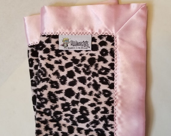 "Pink Cheetah Security Blanket Flannel & Satin back 18"" x 18""  Small Blankie"