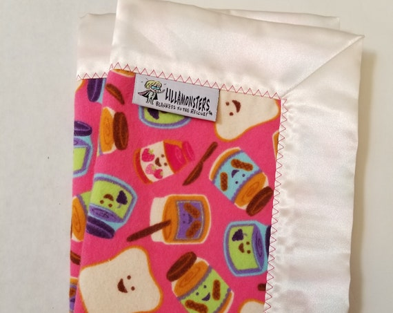 "Smiling PBJ  Security Blanket Flannel & Satin back 18"" x 18""  Small Blankie"