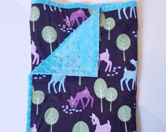 Pet Deer Aqua Minkee & Cotton Baby Blanket 33x33