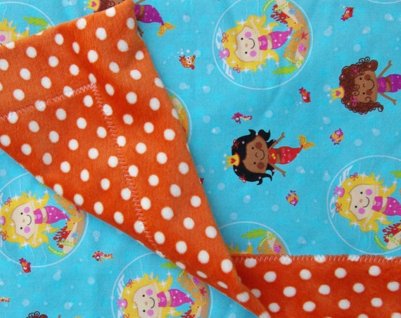 Mermaid Cuddly Baby Blanket 33x33 with Polka Dotted Minkee Chenille