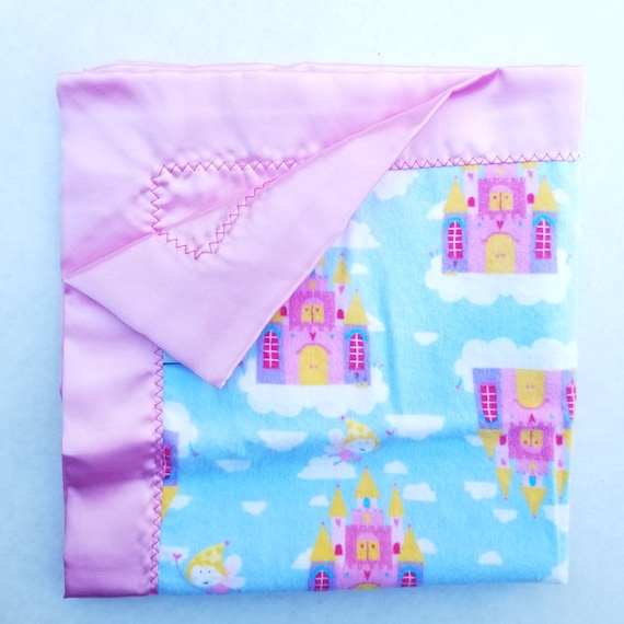 "CASTLES Flannel & Satin Backed Baby Blankie 18"" x 18"""