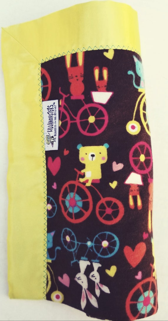 "Bunnies, Bears and Bikes Flannel & Satin backed Baby Blanket 33""x 33"", Gift card"