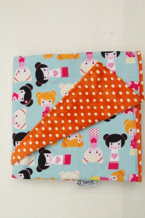 Dolls Cuddly Baby Blanket with Orange Polka Dot Minky Minkee