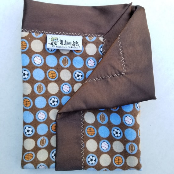 "Sports Security Blankie Flannel & Satin back 18"" x 18"" Lovey"