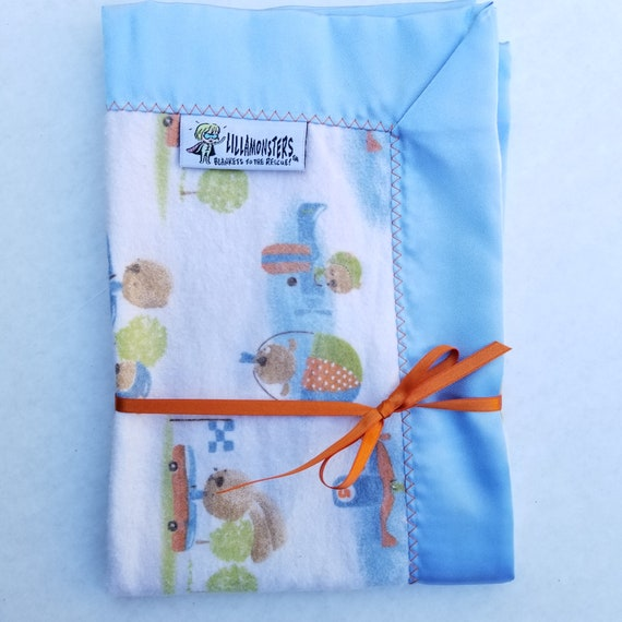 "Rabbit Race Security Blankie Flannel & Satin back 18"" x 18"" Lovey"