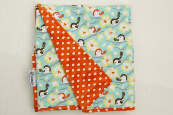 Birds on a Branch  Cuddly  Baby Blanket with Orange Polka Dot Minky Minkee