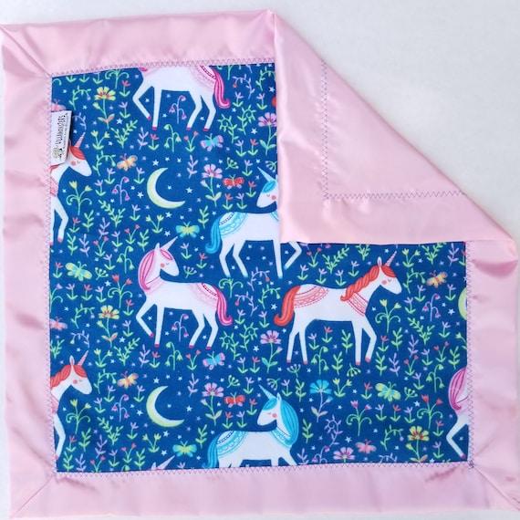 Unicorn  Flannel & Satin backed Baby Blanket