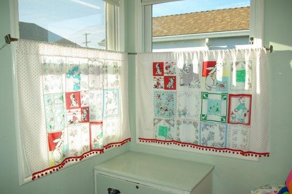 Vintage Baby Nursery Cafe Curtains VIntage Animals & Nursery Rhymes 2 panels kitsch