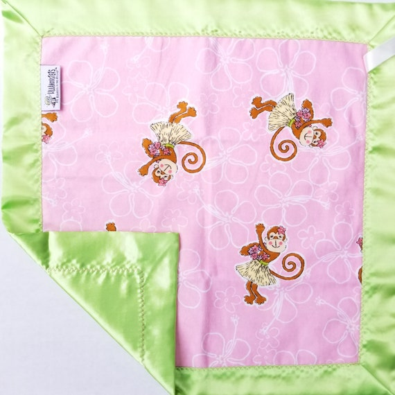 "Hula Monkey Security Blanket Flannel & Satin back 18"" x 18""  Small Blankie"