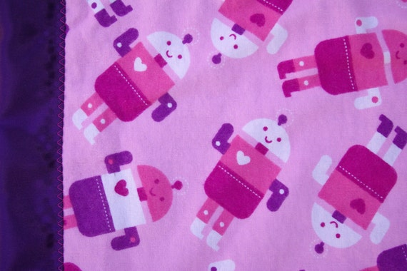"Girl Robot Security BLankie -flannel & satin back 18"" x 18"" QS"