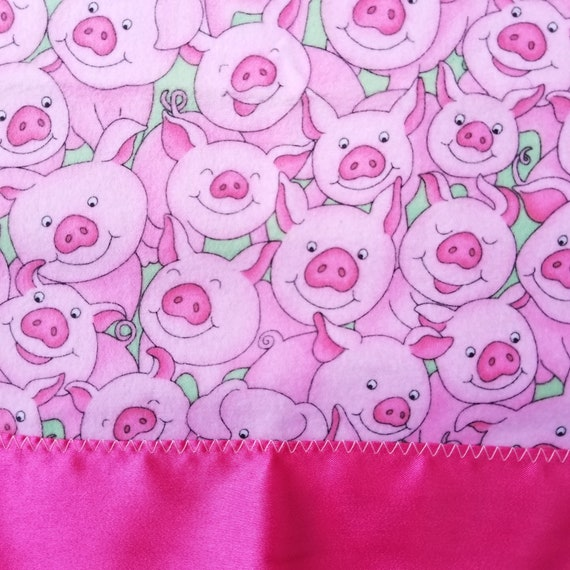 "Piggy Power Security Blanket Flannel & Satin back 18"" x 18""  Small Blankie"
