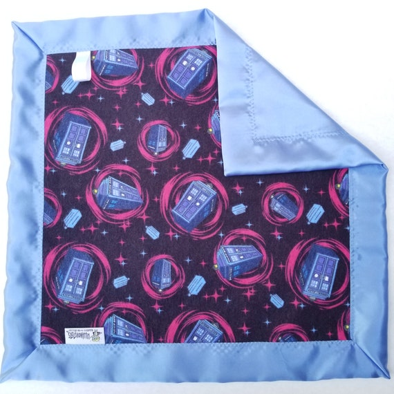 "Dr Who Flannel & Satin backed Baby Blanket 18"" x 18"" w/Gift Card"