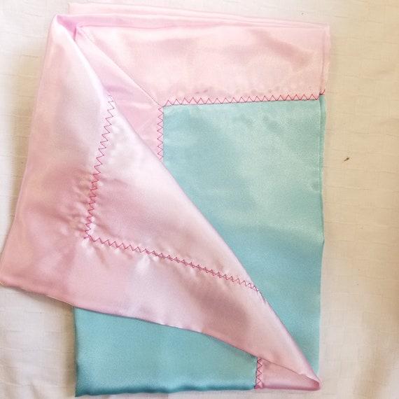 "All Satin Baby Blankie -  18"" x 18""  Pink & Aqua  lovey"