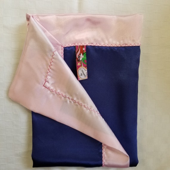 "All Satin Baby Blankie -  18"" x 18""  Navy & Pink Lovey"