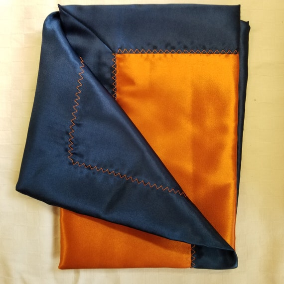 "All Satin Baby Blankie -  18"" x 18""  Navy & Orange"