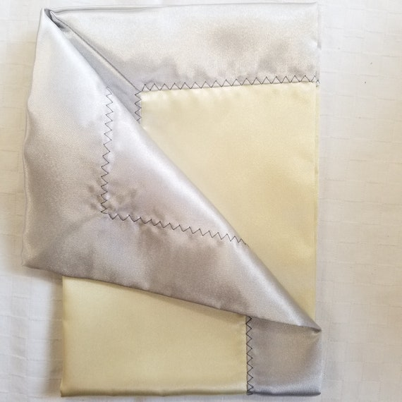 "All Satin Baby Blankie -  18"" x 18""  Yellow & Gray  Lovey"
