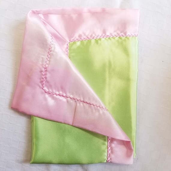 "All Satin Baby Blankie -  18"" x 18""  Pink & Lime  Lovey"