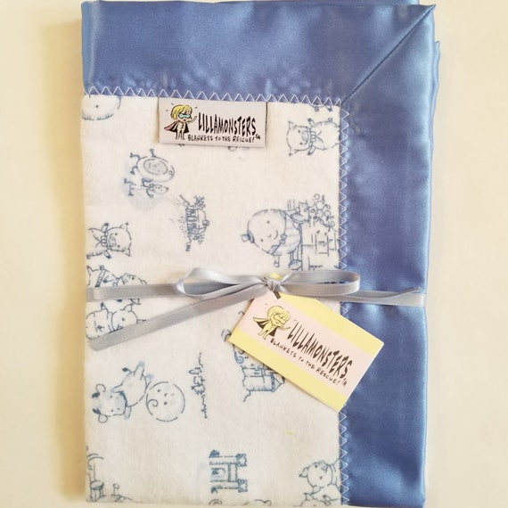 "Nursery Rhyme Toile Security Blanket Flannel & Satin back 18"" x 18"" Small"