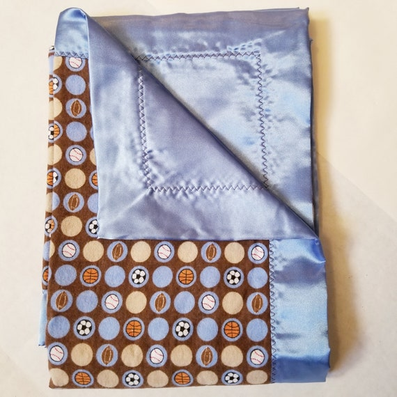 "Sports Balls Flannel & Satin backed Baby Blanket 33""x 33"""
