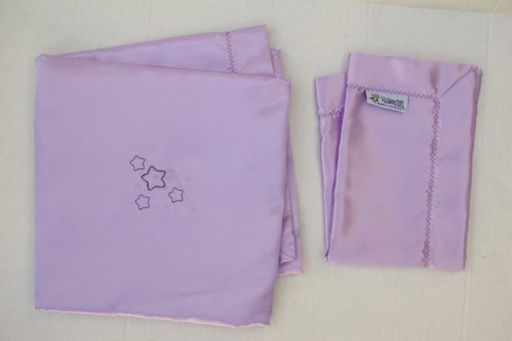 "All Satin Cuddly Baby Blanket Lavender 33""x 33"" with Lovey"