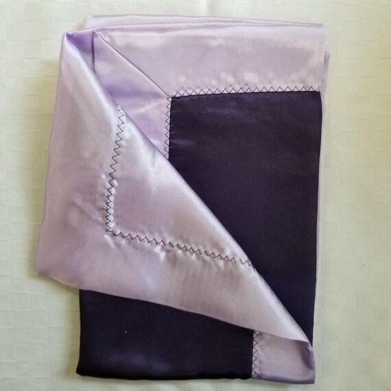 "All Satin Baby Blankie -  18"" x 18""  Dk Purple & Lavender  Lovey"