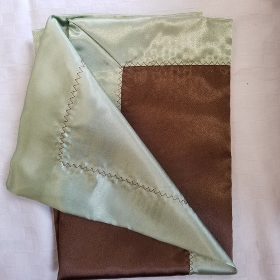 "All Satin Baby Blankie -  18"" x 18""  Brown & Sage.  Lovey."