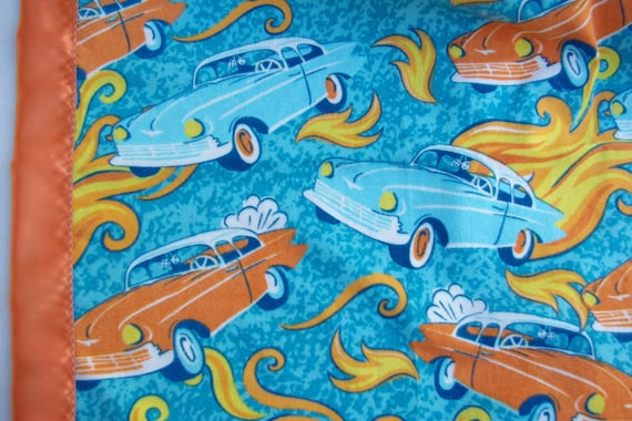 "Hot Rod Cars Flannel & Satin-backed  Baby Blanket 33""x 33"""