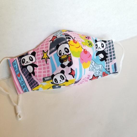 NYC Panda Face mask Woman Medium COTTON 2 layers, filter pocket, metal nose bar,  zippy