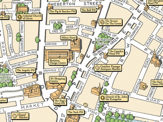 Angel London Map.Angel London N1 Illustrated Map Giclee Print Etsy