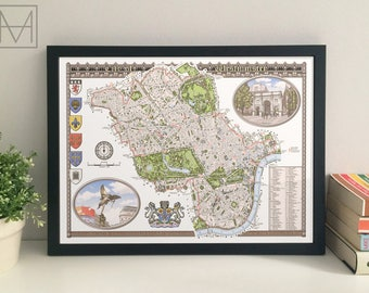 City of Westminster (London Borough) illustrated map giclee print