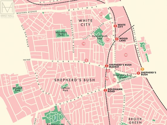 Hammersmith Fulham London Borough Retro Map Giclee Print Etsy