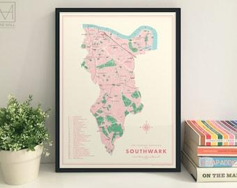 Southwark (London Borough) retro map giclee print