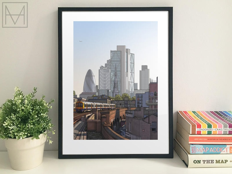 Shoreditch Church and The City from Hoxton Station 48 x 33 cm image 0