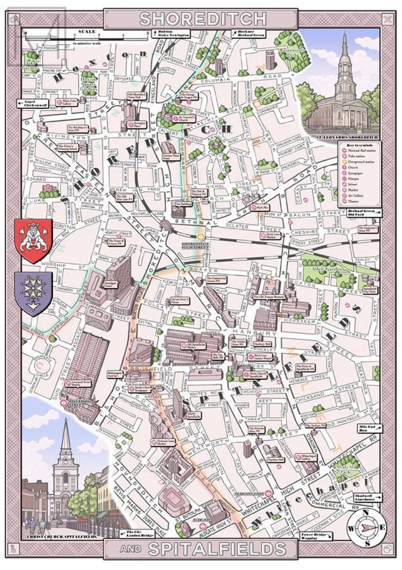 Shoreditch Spitalfields London E1 Ec3 Illustrated Map Etsy